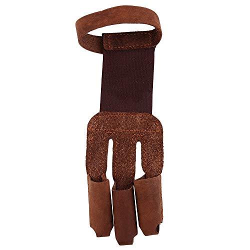 Erduo Verstärkte Fingerspitzen für ausgezeichneten Schutz Bogenschießen Schützen Sie Handschuh 3 Finger ziehen Bogen Pfeil Leder Schießhandschuhe