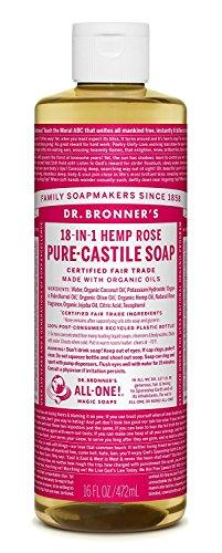 Dr. Bronner's - Flüssigseife - Naturseife - 475 ml Rose - Dr. Bronners Seife Lavendel