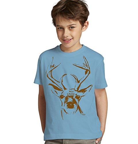 Kinder Jungen kurzarm Trachten T-Shirt Outfit zum Volksfest Oktoberfest Wiesn :-: Geburtstagsgeschenk Kids :-: Hirsch :-: Geschenkidee Teenager :-: Farbe: hellblau Gr: 146/152