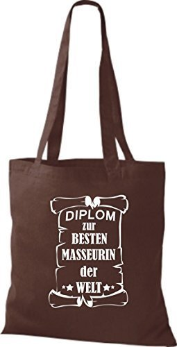shirtstown Borsa di stoffa DIPLOM A MIGLIOR masseurin DEL MONDO Marrone