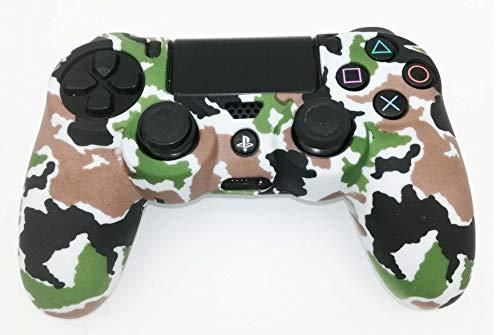 Skins4u Silikon Schutzhülle Case Skin Grip kompatibel mit Playsation 4 PS4 Controller Camo White Green -