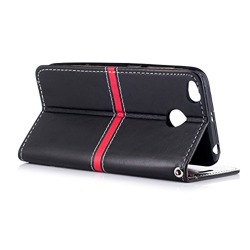 EKINHUI Case Cover Dual Farbe PU Leder Brieftasche Case Soft Silikon Rückentasche mit Detatchable Lanyard & Card Slots Für Xiaomi Hongmi Redmi 4x ( Color : Rose Gold ) Black