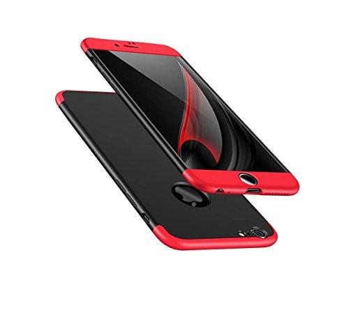 iPhone 6/6s Hülle 360 Rote Schwarz Grad Ultra dünn Alles inklusive Schutz 3 in 1 PC Telefon cover case (Ich Handy Sechs-zubehör)