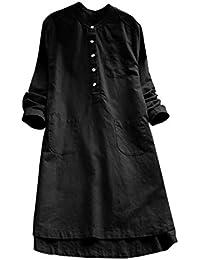 POLP Vestidos Vintage Mujer Vestidos Retro Manga Larga otoño Invierno 2019  Cuadros Vestido Blusa Algodón y 73ef76234079