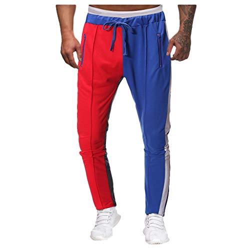 Shorts Hosen, Jogginghosen, Fitnesshosen Mode für Männer fit Schlinge lose Patchwork Farbe Jogginghose Hose Jogger Pant Rot M -