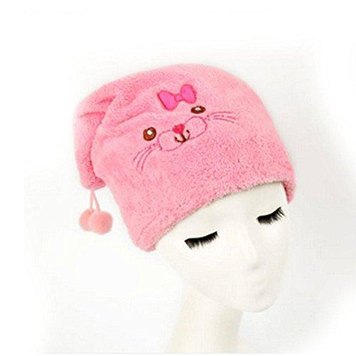 YOKIRIN für Kinder Nützliche Haar Trockenes Hut aus Mikrofaser Haar Turban schnell trockenes Haar Hut gewickelt Handtuch Badekappe -Rosa(36*27CM)