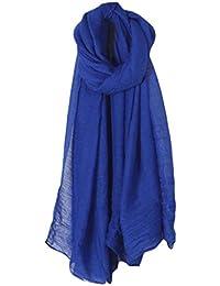 Dabixx Femmes Solide Couleur Longue Écharpe Wrap Vintage Coton Linge Grand Châle  Hijab Élégant ... 5560d3d392e