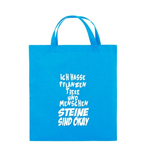 Comedy Bags - ICH HASSE PFLANZEN TIERE - Jutebeutel - kurze Henkel - 38x42cm - Farbe: Schwarz / Pink Hellblau / Weiss