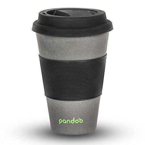 pandoo tasse à café en bambou à emporter - Tasse à café, tasse à boire, tasse en bambou - écologiquement dégradable, recyclable, écologique - sécurité alimentaire, lave-vaisselle