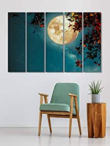 999STORE Glowing Moon and Floral Big size Wall Art Hanging Paintings, Set of 5, Blue (130 X 76 Cm)