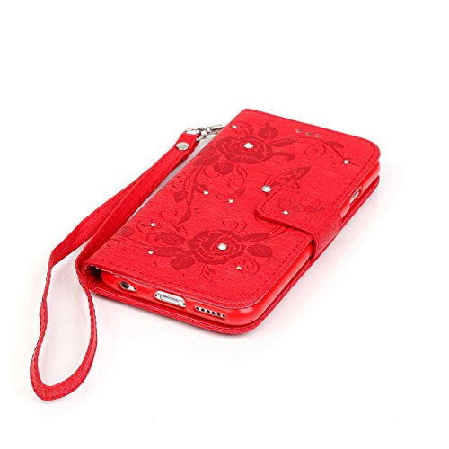 Hülle für iPhone 6S Plus, Tasche für iPhone 6 Plus, Case Cover für iPhone 6 Plus, ISAKEN Glitzer Strass Kristall Blume Schmetterling Muster Folio PU Leder Flip Cover Brieftasche Geldbörse Wallet Case  Schmetterling Rose Rot
