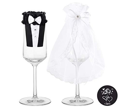 Hochzeit für Brautpaar Sektglas-Deko Sektgläser mit Ringe Herz Gravur Aufklebern Geschenk zur Hochzeit Valentinstag 2er-Set ()