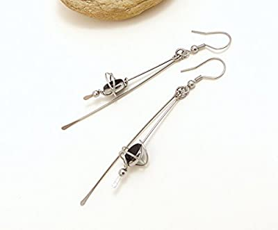 Boucles d'oreille longues noir argent, verre et acier inoxydable (A19)