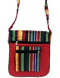 Red Embroidery Bohemian Crossbody Sling Bag Cotton Handmade Passport Handbag