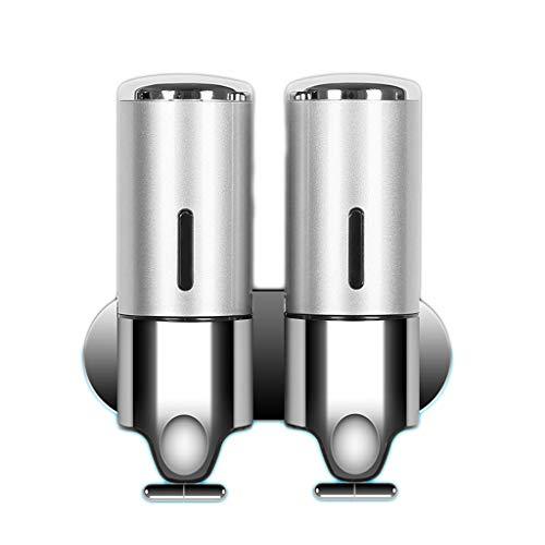 Dispensador de jabón de Pared Botella de jabón Manual de plástico Sistema de distribución de líquido de jabón 1 Habitación 2 Habitaciones 3 Habitaciones Opcional (Color : Silver, tamaño : 2 Romes)