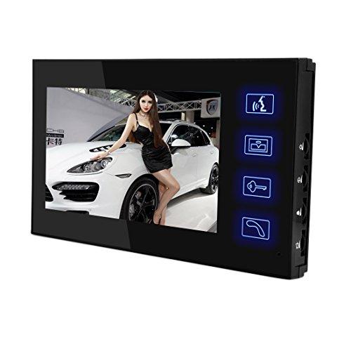 PUTECA 7 inch TFT LCD 700TVL 5 IR LED Night vision Camera Black outdoor unit Wire Video Door Phone Doorbell Intercom System 1 VS 2