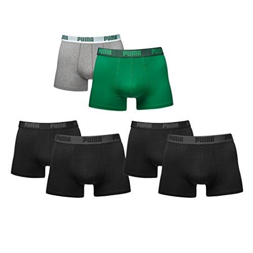 Puma Herren Basic Boxershorts im Farbmix. 6er Pack neue Kollektion Black/Green