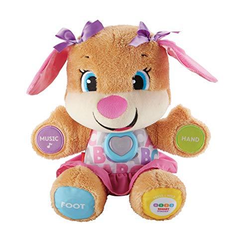 Fisher-Price la sœur de Puppy Eveil Progressif jouet bébé, peluche interactive, version anglaise, 6 mois et plus, FPP51