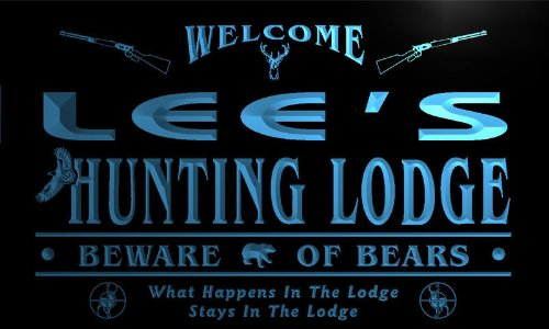 ql124-b-lees-hunting-lodge-firearms-deer-bear-eagle-bar-neon-beer-sign