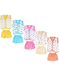 Sathiyas Set of 5 Printed Cotton Shirts and Shorts for 0-6 Months Babies (Multicolour, 0-6 Months,GW4PrntSleeveless)