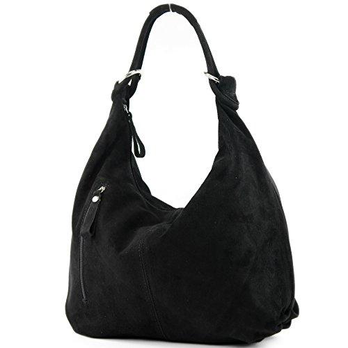 Schwarze Stoff-handtasche (modamoda de - ital. Ledertasche Damentasche Hobo Bag Schultertasche Wildleder Groß T158, Präzise Farbe:Schwarz)