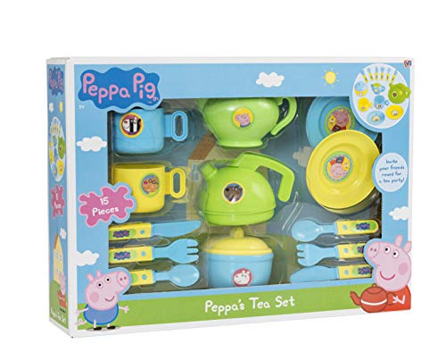HTI Toys Official Peppa Pig Cutlery & Tea Dinner Set | Includes Teapot, Jug, Bowl, Saucers & More | Fun Toddler Tea Pot Set for Little Boys & Girls Age 3 Years +