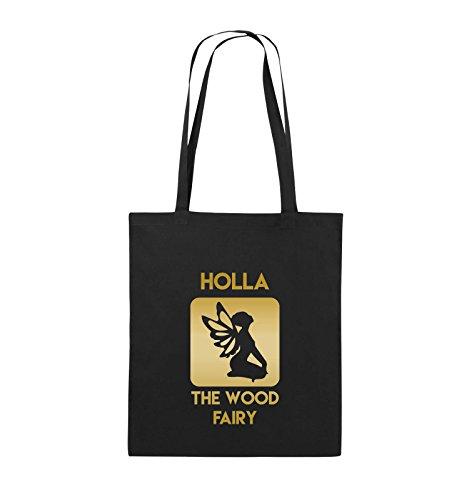 Comedy Bags - HOLLA THE WOOD FAIRY - Jutebeutel - lange Henkel - 38x42cm - Farbe: Schwarz / Silber Schwarz / Gold