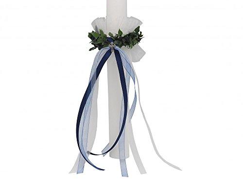 Set: Tropfschutz und Kerzenring Blau Kommunion Taufe Kerzenrock Kerzenkleid Junge