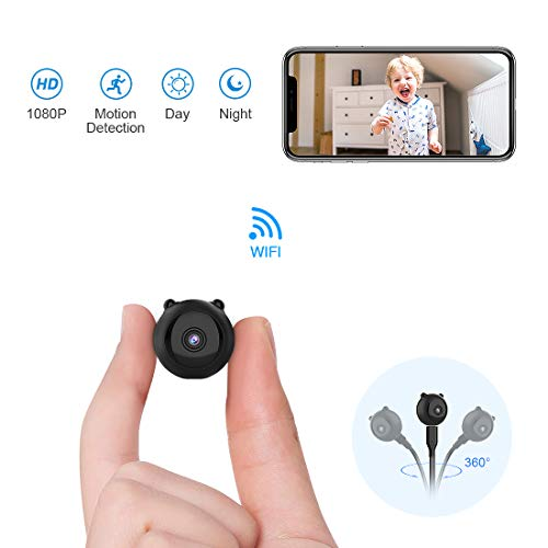 Spia Telecamera Nascosta AOBO Mini 1080P HD Microcamere WiFi IP Wireless Visione Notturna IR Rilevamento di Movimento Portatile Videocamera di Sorveglianza Video Registrazione in Loo