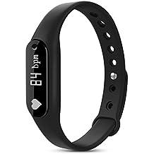 Viwel C6 Pulsera Inteligente, Fitness Tracker con ritmo cardíaco / Vigilancia del sueño / Movimiento Paso / Impermeable Deportes Smart Wristband Bluetooth Smart Watch para IOS y Android (negro)
