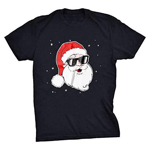 ┃BYEEEt┃ Natale T-Shirt da Uomo Maglietta a Maniche Corte da Uomo Sportivo Tee Tops Estate Casuale Camicetta T-Shirt Cotone Slim Fitness Lo Sport Casual Magliett