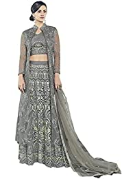 Style New Grey Embroidered Party Wear Attractive Look Stylish Fancy Designer Dress
