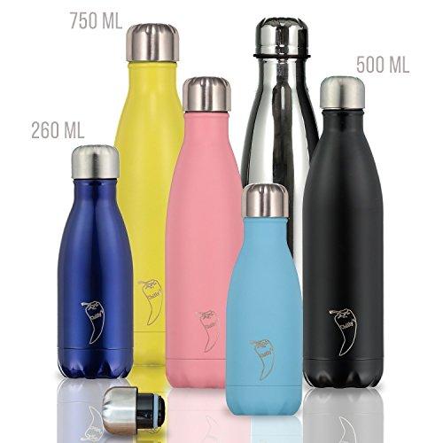 Chilly's Bottles | Thermos 100% Étanche & Anti Fuite | Bouteille Isotherme réutilisable sans BPA | Maintient les boissons froides pendant 24 heures, chaudes pendant 12 heures | Blanc Mat, 500ml