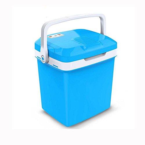 HuanLeBao thermoelektrische Kühlbox, 26 Liter, anschlussfertig für den PKW, 12-Volt, Kühlen und Heiz-Funktion, tragbarer Mini-Kühlschrank,55W , Blue , 26l