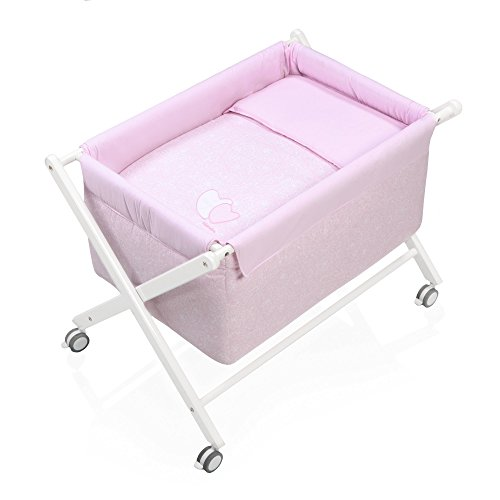 Alondra 670-06223 - Minicuna para bebé de madera completa, con vestidura, color rosa