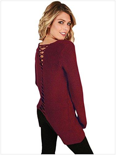 BaronHong Plus Size Women's Flora Pullover Felpa con Manica Lunga Rosso