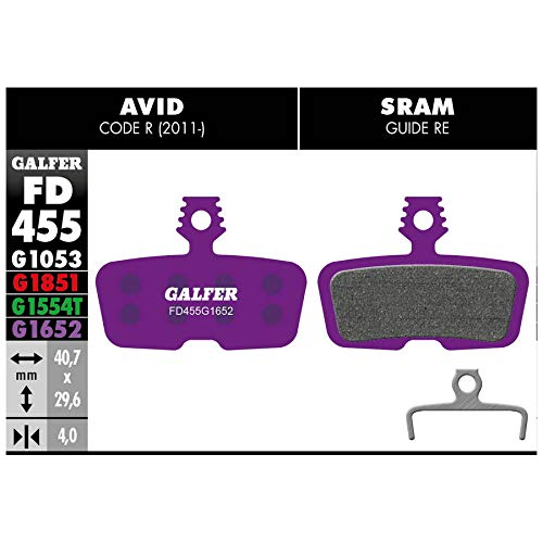 GALFER BIKE Pastiglie mescola Viola e-Bike per Freni Avid Code R, RSC e Guide Re (Pastiglie Ciclo)