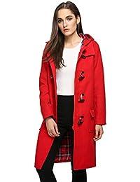Finejo Women's Hoodie Fleece Jacket Duffle Style Toggle Wool Coat Pea Coat