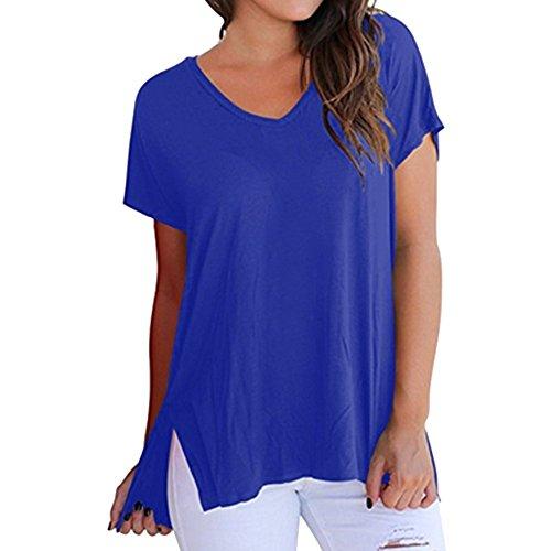 Zimuuy Zimuuy Damen Sommer Bluse, Frau Beiläufiges V-Ausschnitt Plain Lockeres Rückenschlitze T Shirt Oberteile (S, Blau)