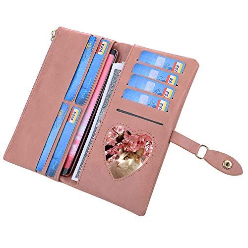 Coopay Geldbeutel Mädchen,Brieftasche Portmonee Leicht,Kreditkartenhülle Kunstleder,Clutch Wallet Reißverschluss Handtasche,Ledertasche für iPhone XR XS Max/Xiaomi Redmi/Sony Xperia XZ1 XA2, Rosa
