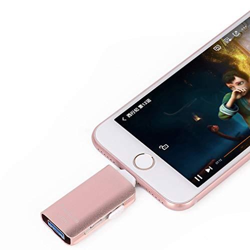 USB-Flash-Laufwerke für iPhone [3-in-1] OTG Jump Drive,Thumb Drives Externer Micro USB Speicherstick, USB 3.0 Flash Memory Stick für iPhone, iPad, iOS, Android, PC Rose 256 GB Mpg, Ipod Video