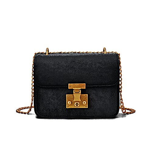 0d0d9b5d7f64c Damen Samt Mini Kleine Quadratische Tasche Kettensack Schloss Schulter  Messenger Bag Mode Klassisch Elegant Black