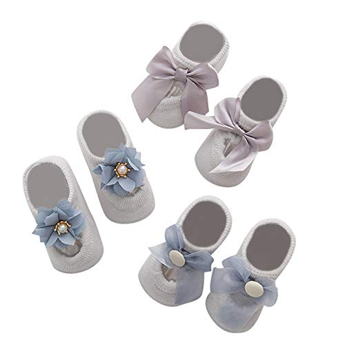 YWLINK SäUglingskarikatur Schuhwerk Neugeborene MäDchen Bow Spitze Prinzessin Socken Jungen Lace Floral Anti-Slip Warme Socken 3Pairs