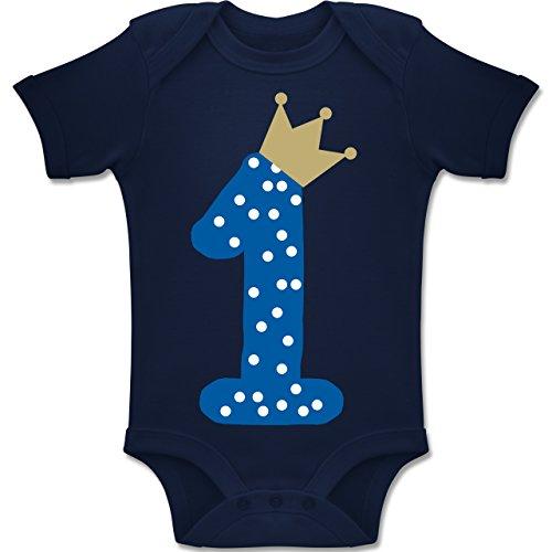 Shirtracer Geburtstag Baby - 1. Geburtstag Krone Junge Erster - 12-18 Monate - Navy Blau - BZ10 - Baby Body Kurzarm Jungen Mädchen (Baby-jungen 1 Jahr-outfit)