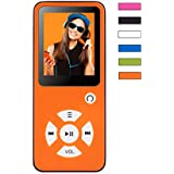 BERTRONIC ® Reproductor de MP3 Everest Royal - Color naranja - reproductor de música y video - 100 horas de reproducción de audio, podómetro, altavoz - ampliable a hasta 128 GB con tarjeta de memoria microSD