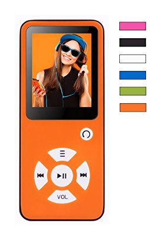 MP3-Player Royal BC01 – 100 Stunden Wiedergabe, Lautsprecher, Kopfhörer, Schrittzähler, Hörbücher, FM Radio, Wecker, mit microSD Kartenslot für bis 128 GB microSD Karten – Orange von BERTRONIC