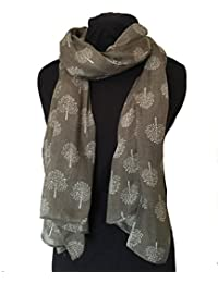 Taupe with white mulberry tree design ladies fashion scarves