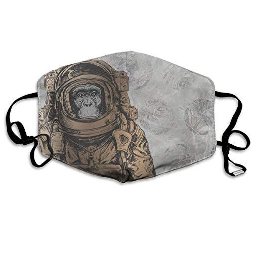 Safety Mask for Dust - Cute Sloths Seamless Polyester Anti-dust Mouth Fashion Washed Reusable Face Masks for Outdoor Cycling (Monkey Face Mask)