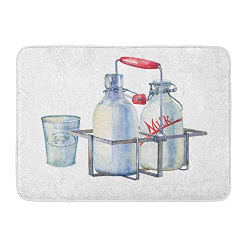 lanell Stoff weich saugfähig Vintage Bauernhaus Metall Halter Rack Flaschen Milch und Glas Aquarell gemütliche dekorative rutschfeste Memory Badezimmer Teppich ()
