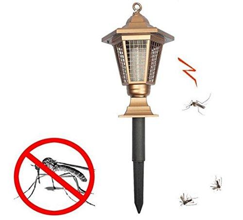 Style Européen d'or Tueur de Moustique Lampe LED Énergie Solaire Lutte Contre Les Parasites Anti-Moustique Lumière Extérieur Tueur d'insecte Lumière de Rue pour Jardin, Patio, Pelouse, Accrocher ou Bâton Dans le Sol